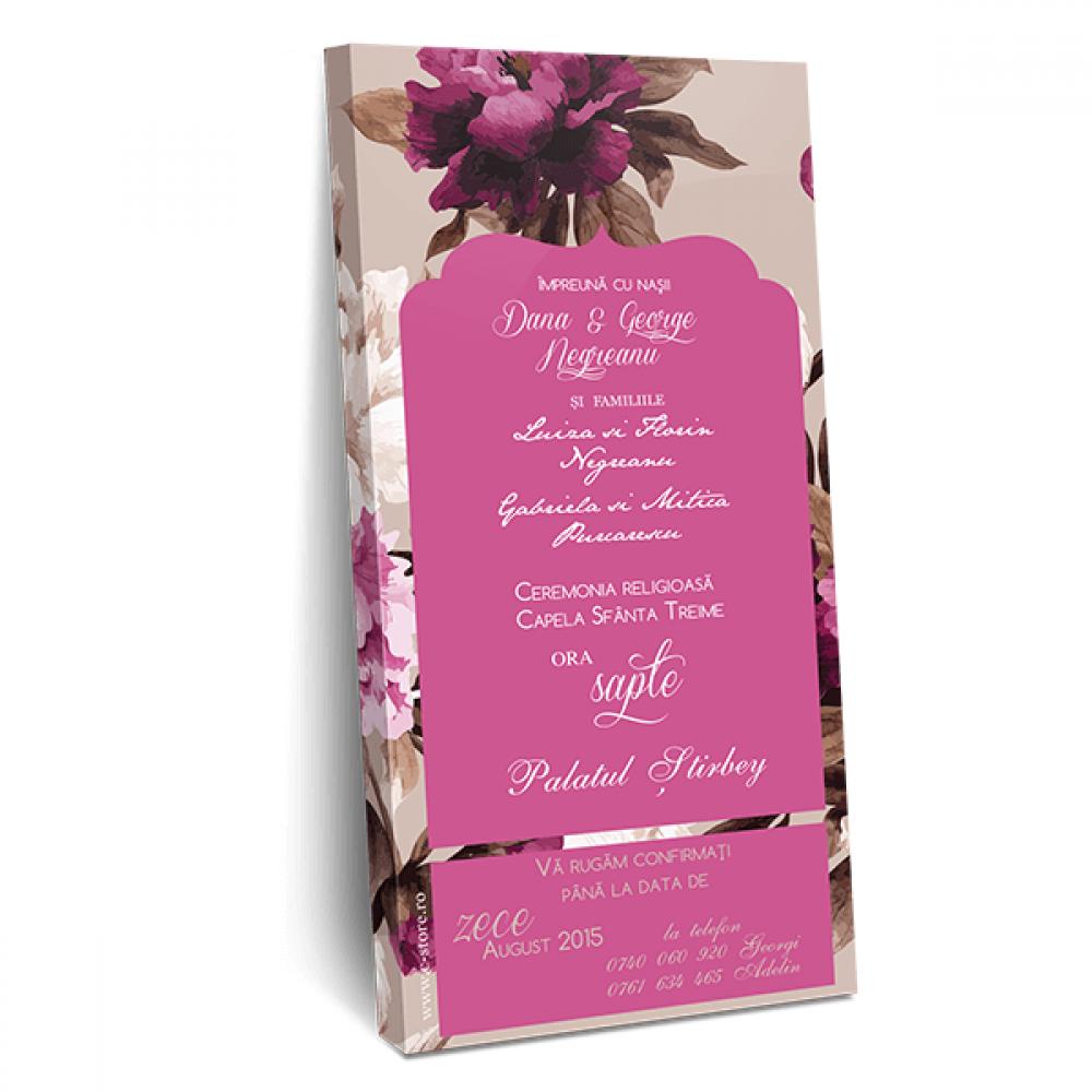 """Invitatie de nunta tip ciocolata """"Pink love"""""""