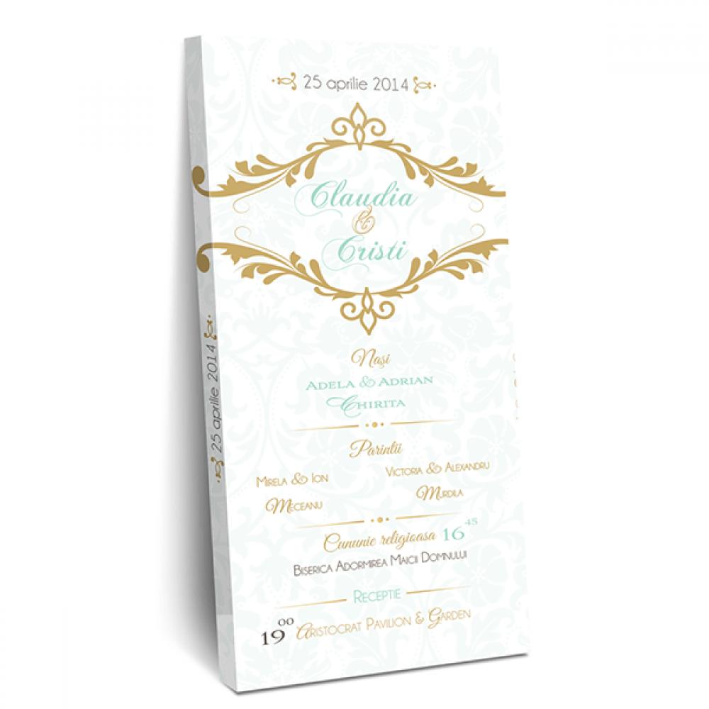 "Invitatie de nunta tip ciocolata ""Fresh mint"""