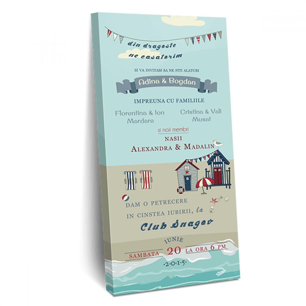 """Invitatie de nunta tip ciocolata """"Sea lover"""""""