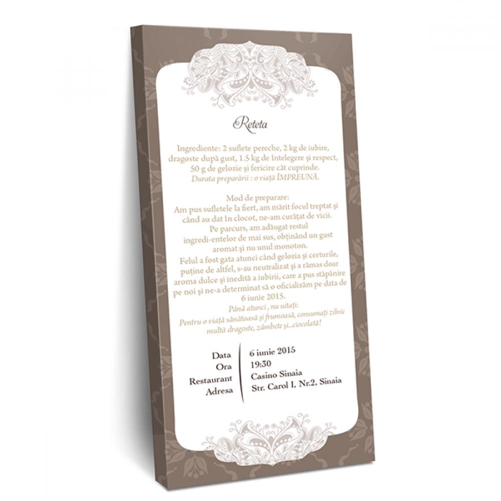 "Invitatie de nunta tip ciocolata ""Latte"""