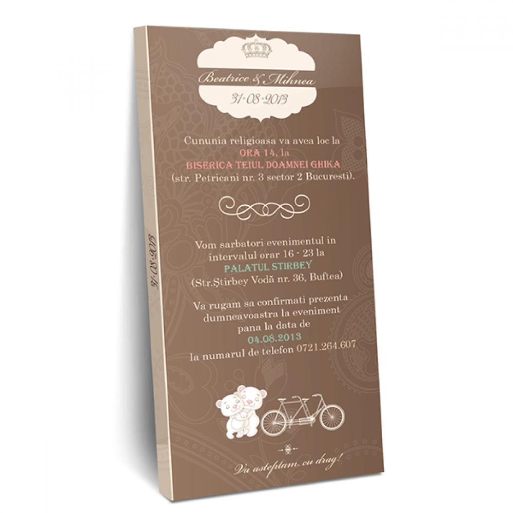 """Invitatie de nunta tip ciocolata """"Happy Bear"""""""