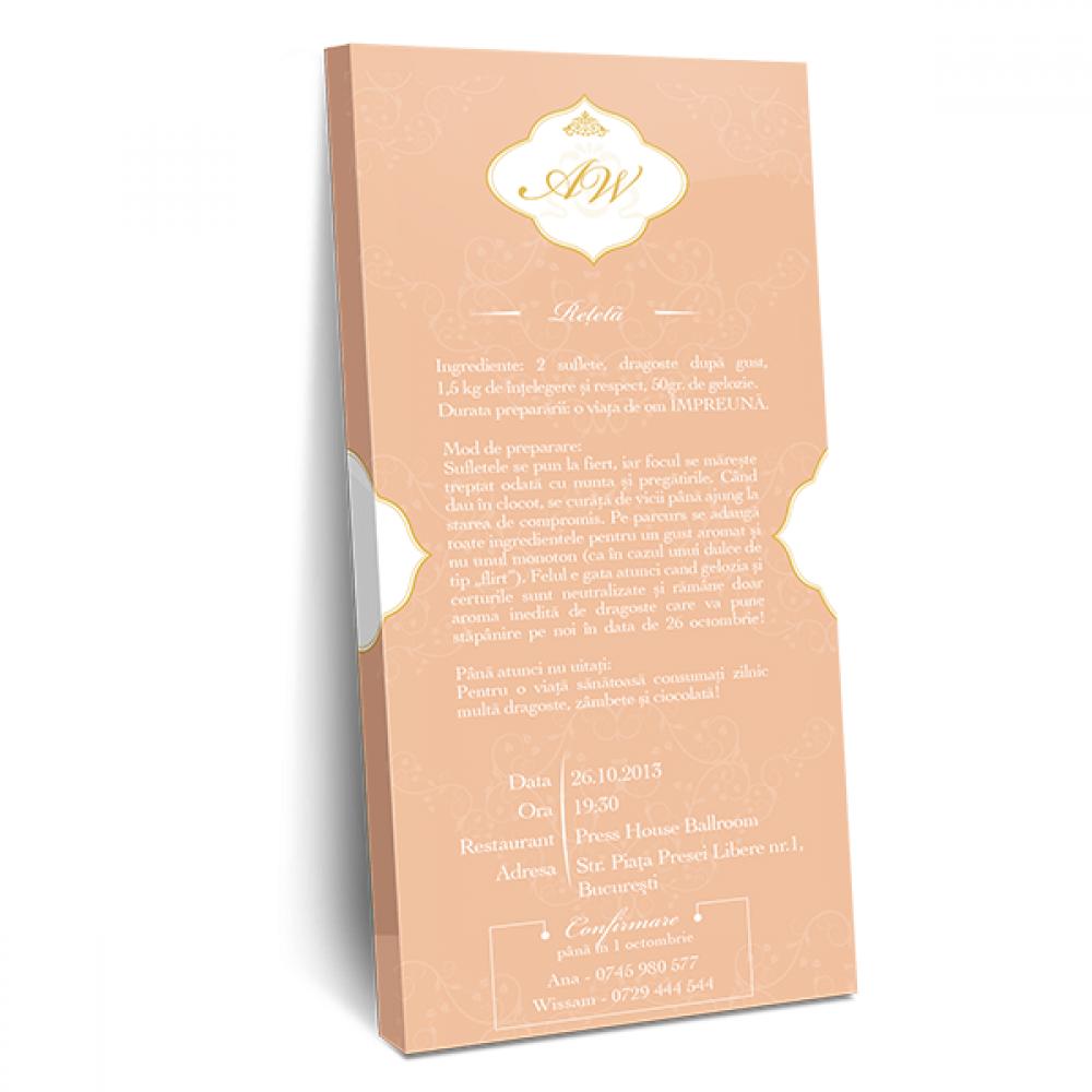 "Invitatie de nunta tip ciocolata ""Peach"""