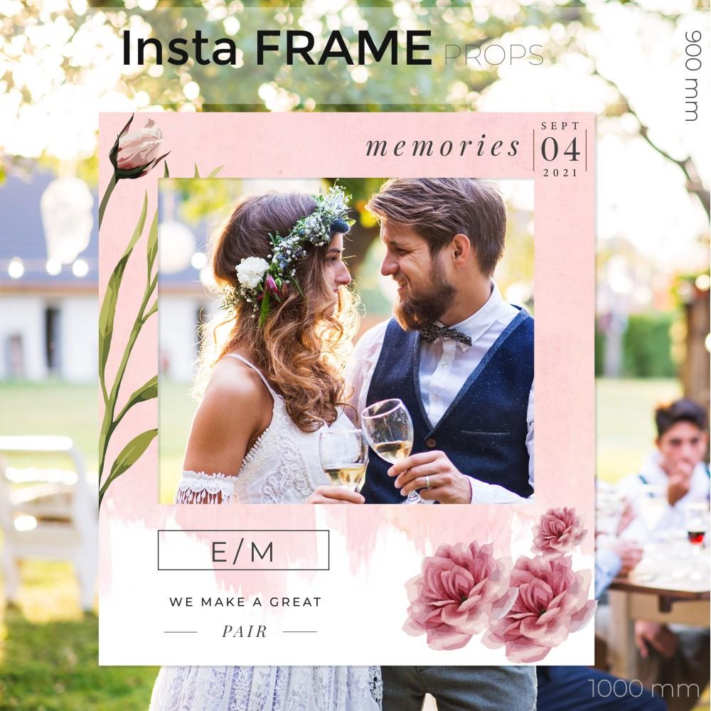 Rama petrecere nunta - InstaFrame - Pink Flowers