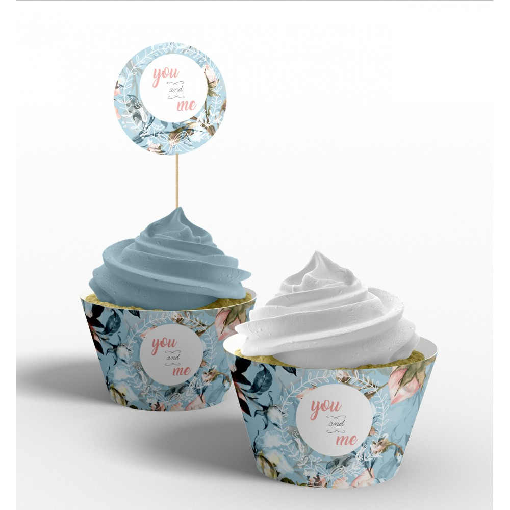 "Invelitoare cupcake ""Blue Vintage"""