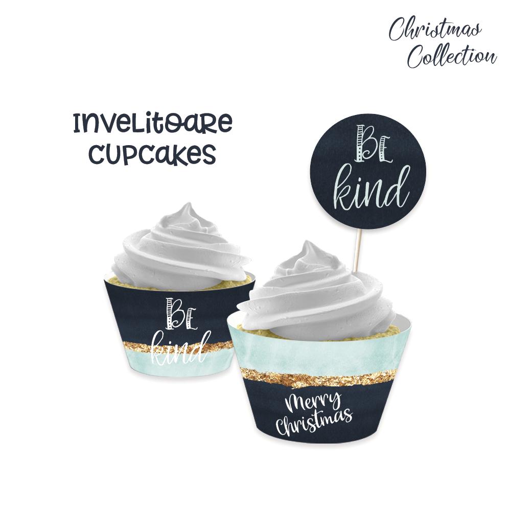 "Invelitoare cupcake ""Blue Christmas"""