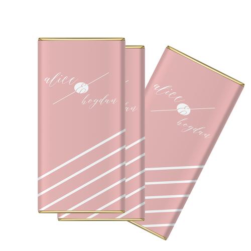 """Marturie nunta mini-ciocolata """"Pink and White"""""""