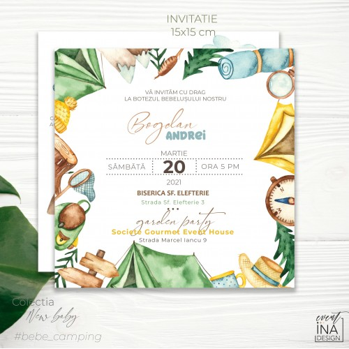 Invitatie de botez  Camping