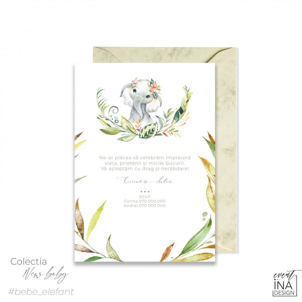 Invitatie de botez  Elefant