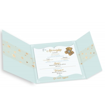 "Invitatie de botez ""Green bear"""