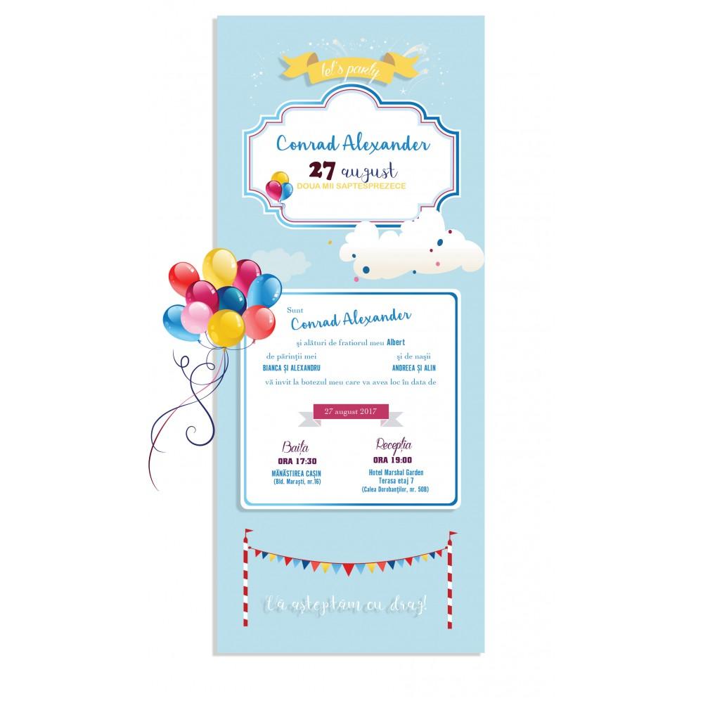 "Invitatie de botez  online ""Baloane colorate"""