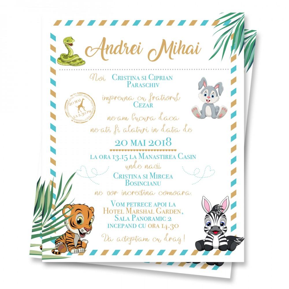 "Invitatie de botez  online ""Animalute"""