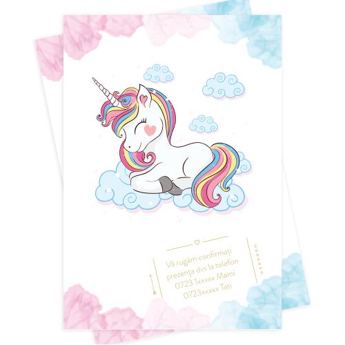 "Invitatie de botez  ""Unicorn"""