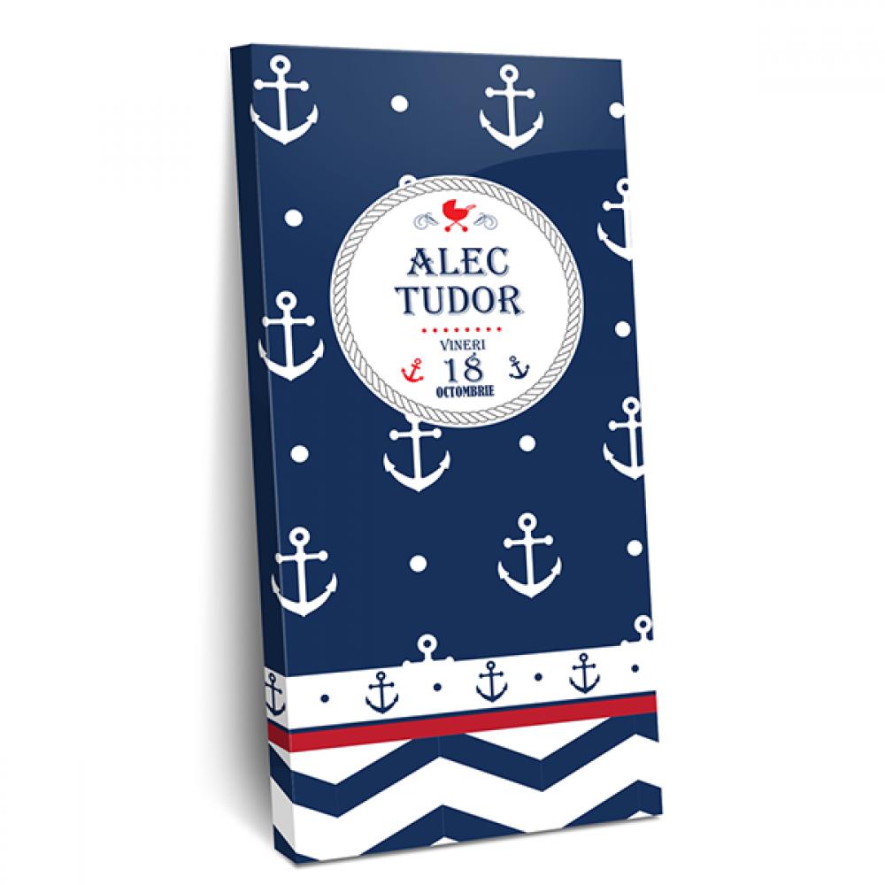 """Invitatie de botez tip cutie de ciocolata """"Navy baby boy"""""""