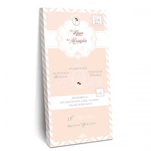 "Invitatie de botez tip cutie de ciocolata ""Lady bug"""