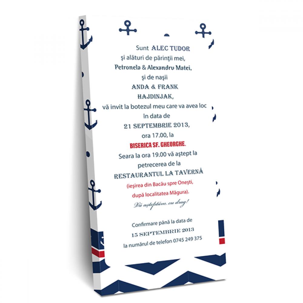 """Invitatie de botez tip cutie de ciocolata """"Soft navy"""""""