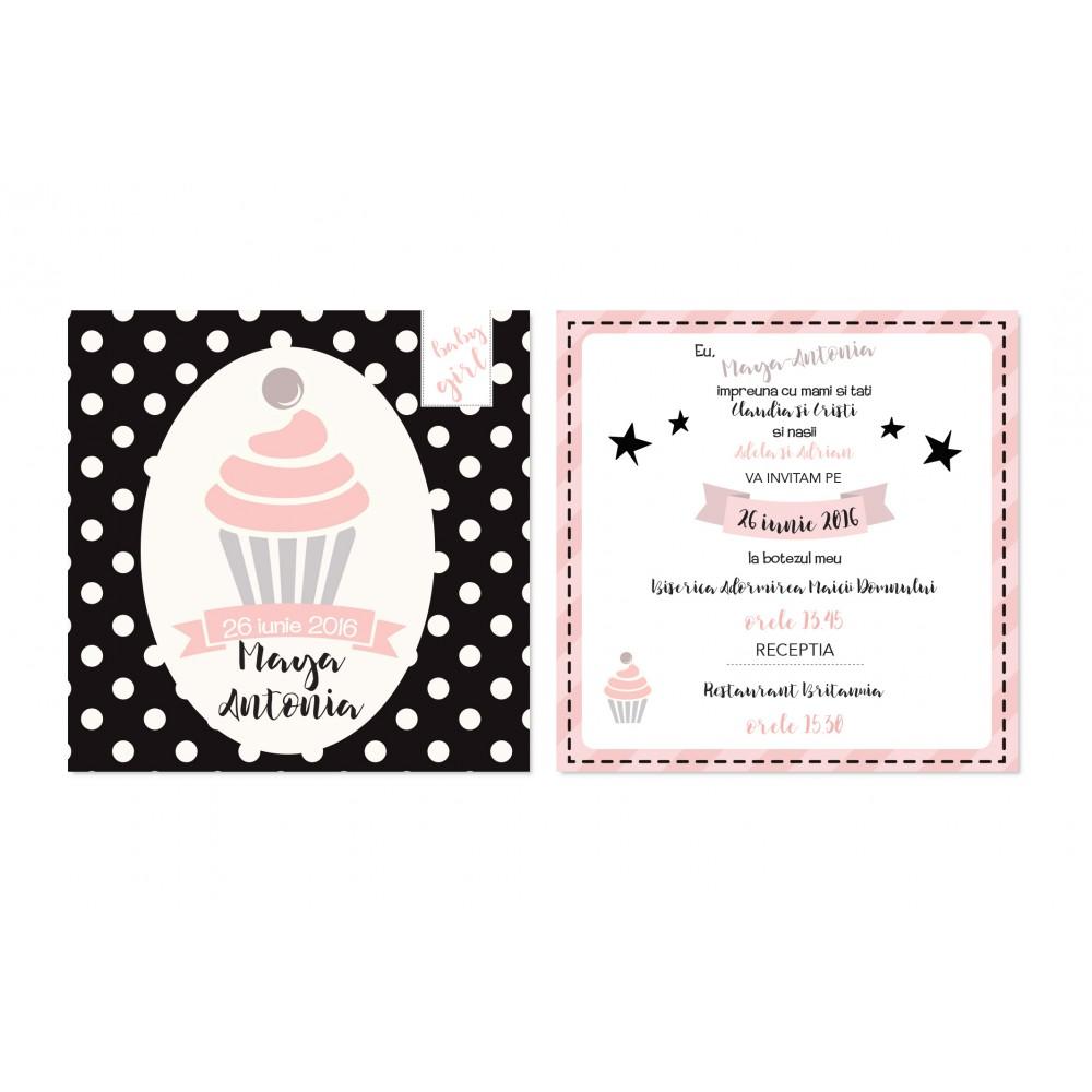 """Invitatie de botez cu buline """"Miss Cupcake"""""""