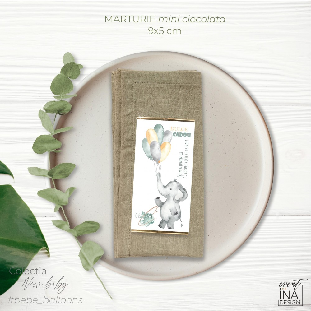 Marturie botez mini-ciocolata Jungle