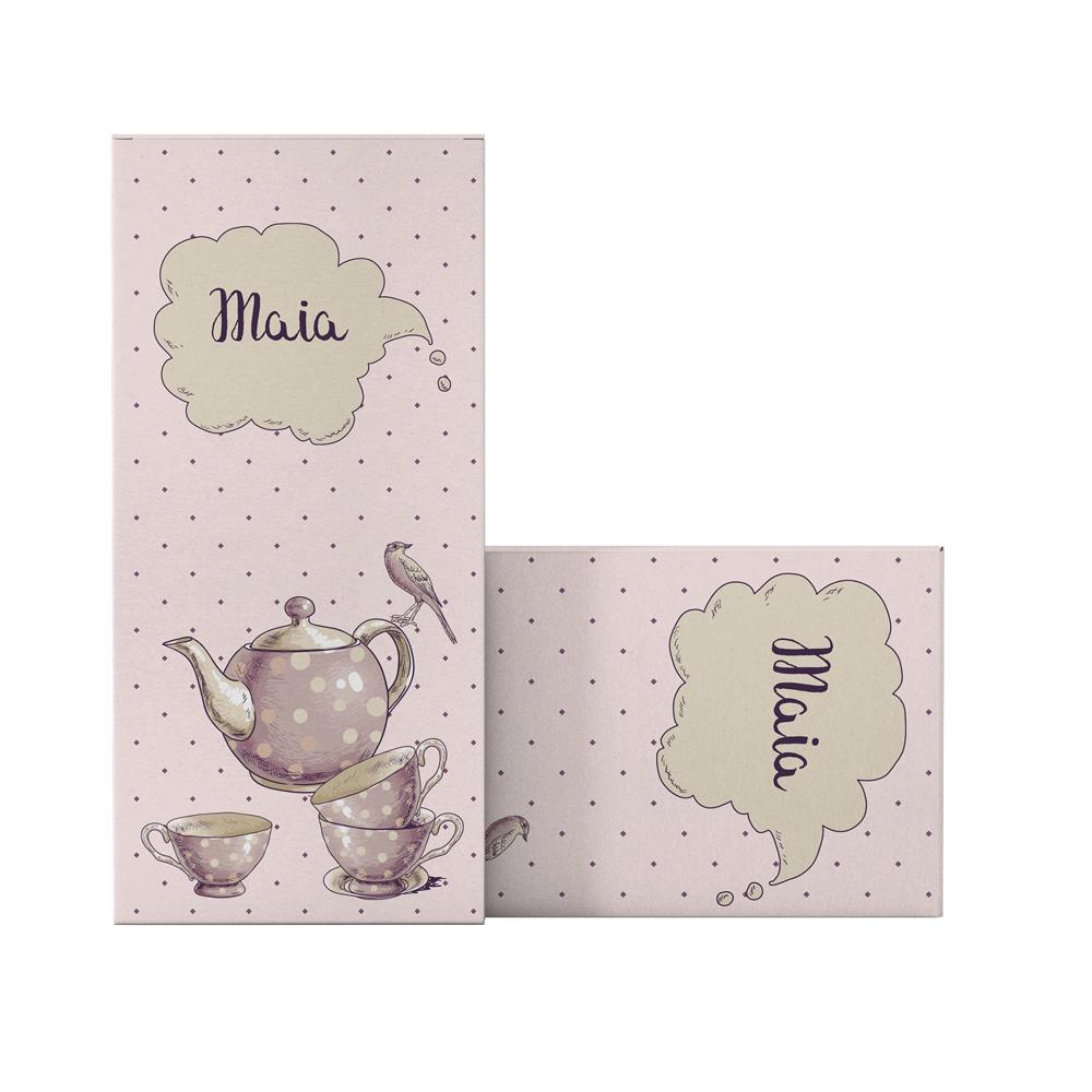 """Marturie de botez tip cutie de ciocolata """"Petrecere la ceai"""""""