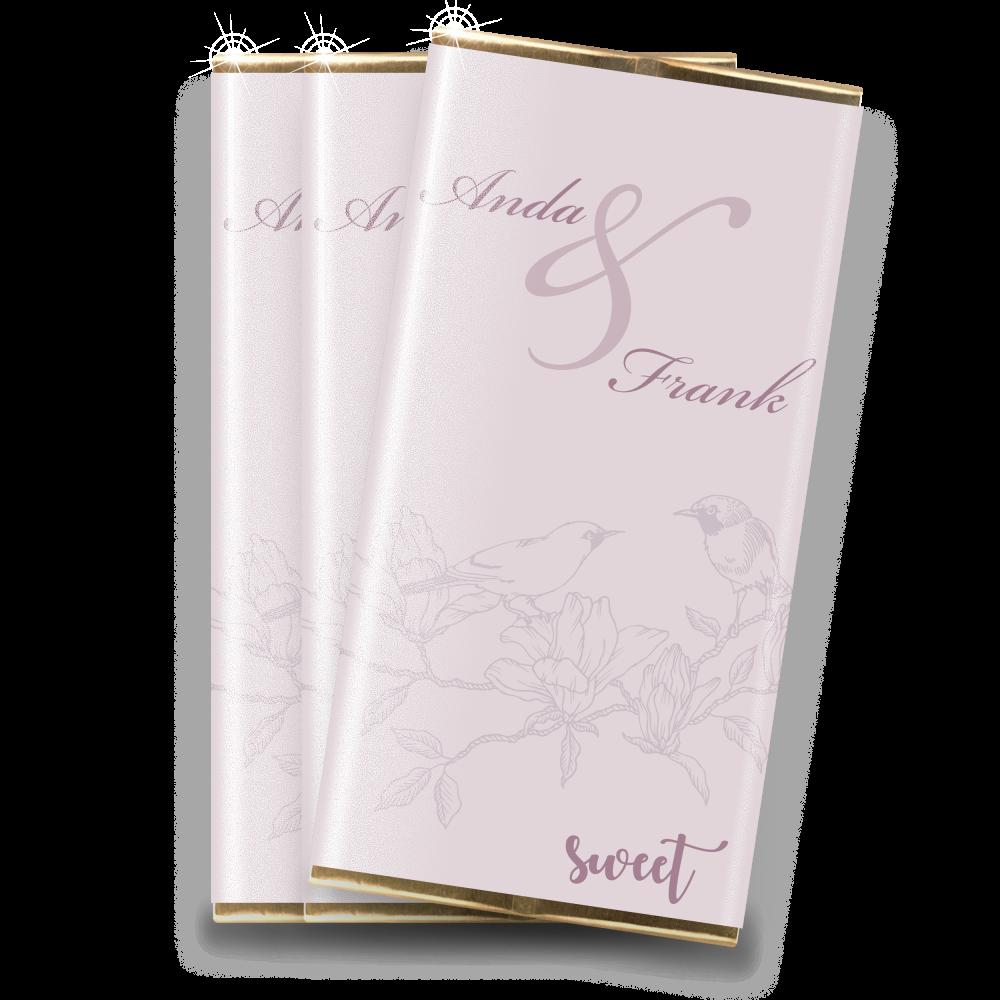 "Marturie nunta mini-ciocolata ""Liliac"""