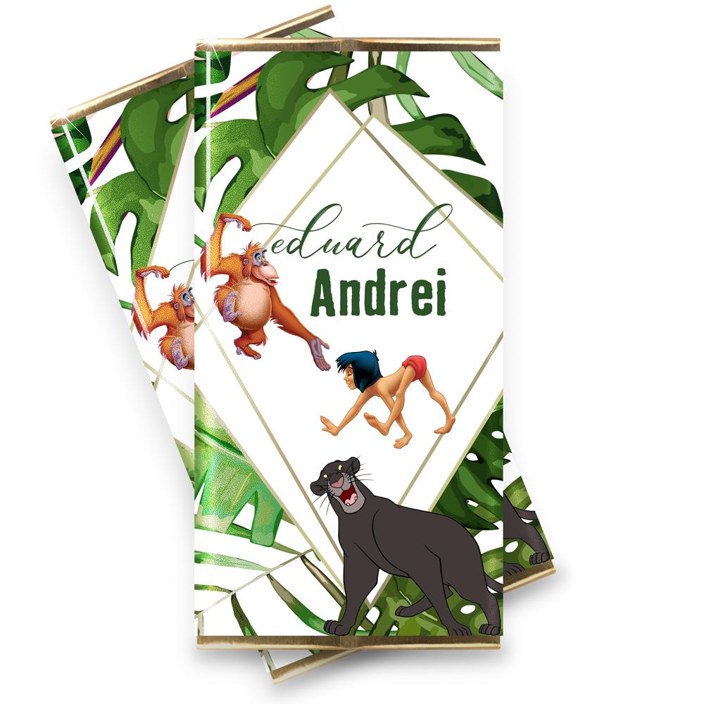 Marturie botez mini-ciocolata Cartea Junglei - Mowgly