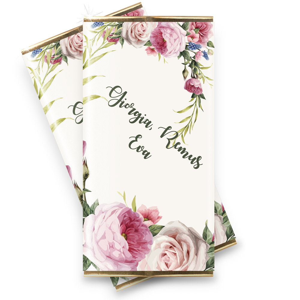 "Marturie nunta mini-ciocolata ""Fresh Flowers"""