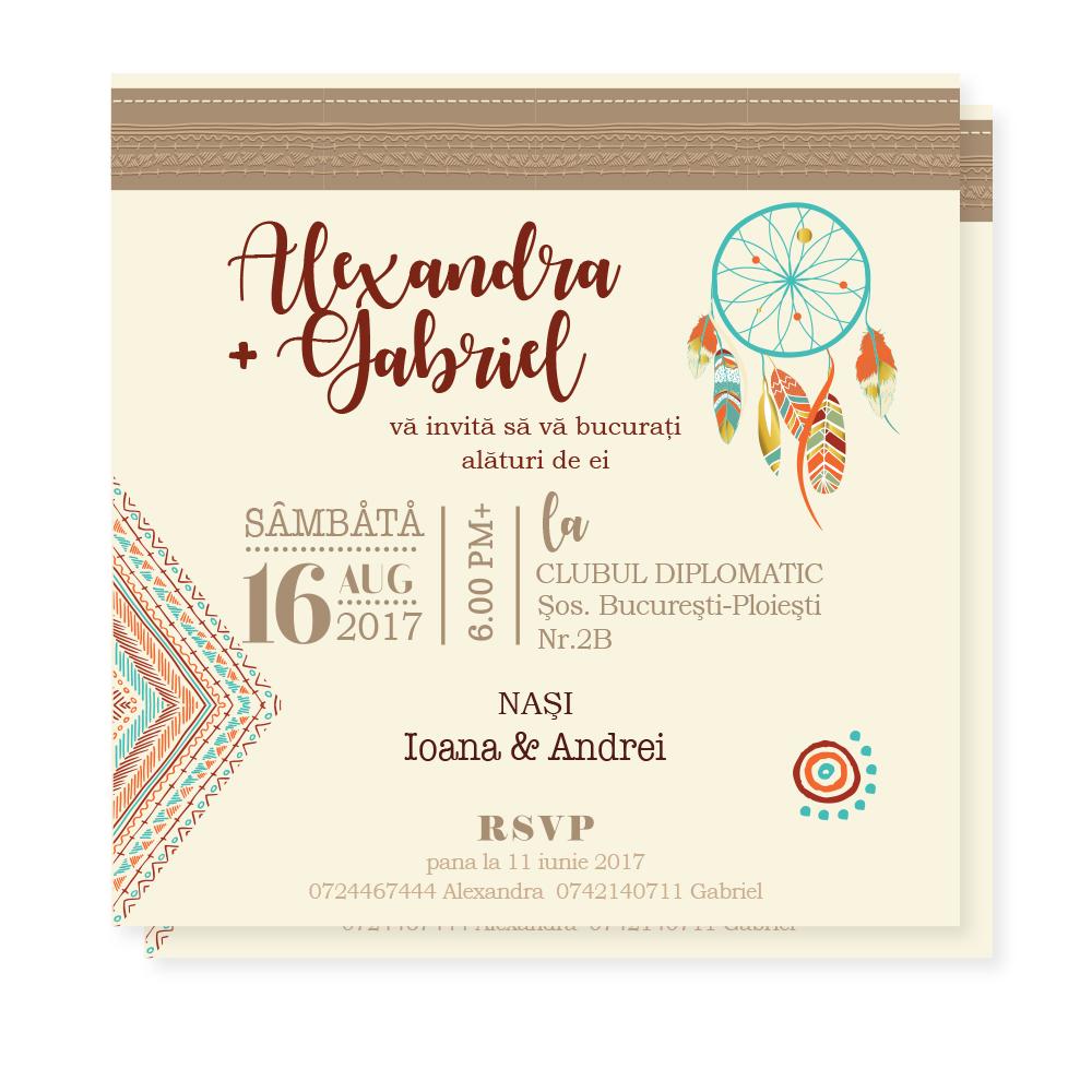 "Invitatie de nunta  ""Boho beauty"""
