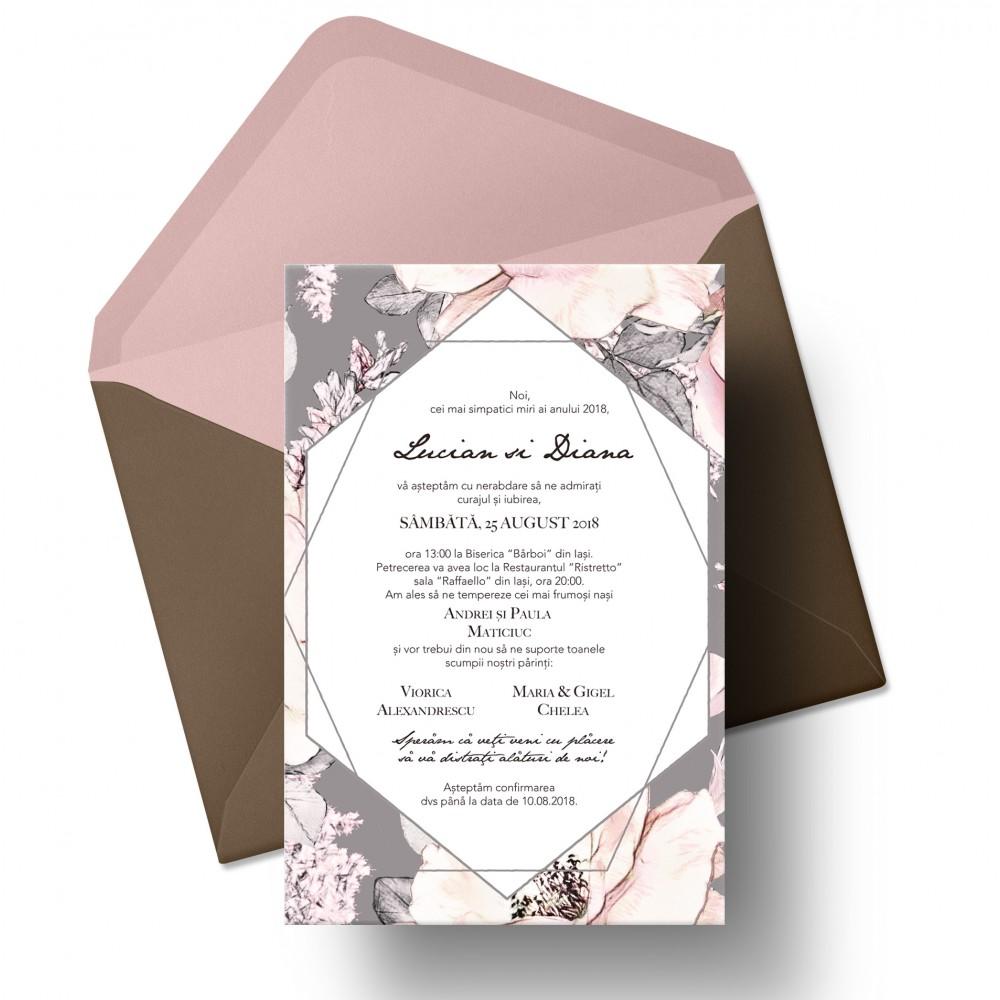 Invitatie De Nunta Pink Flowers