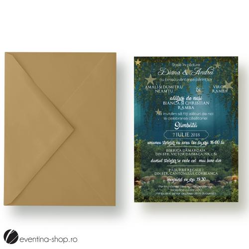 """Invitatie de nunta """"Stele in padure"""""""