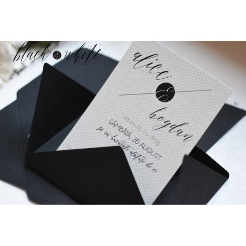 """Invitatie de nunta  """"Black and White"""""""