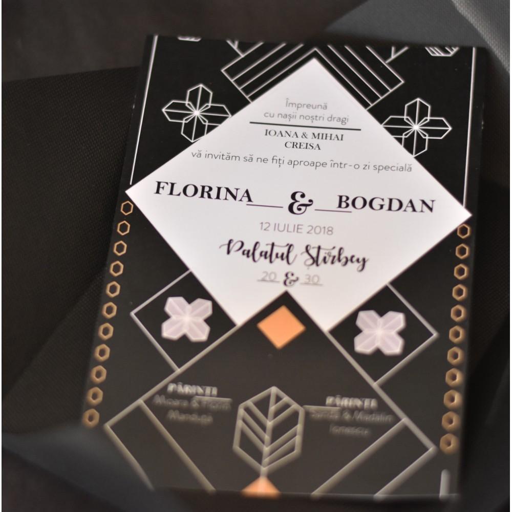 "Invitatie de nunta  ""Geometric black"""