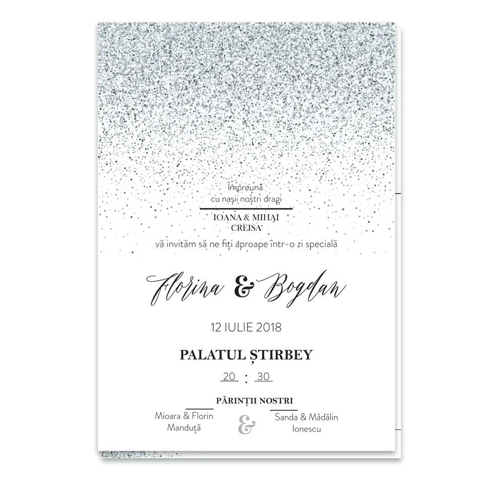 """Invitatie de nunta  """"Silver Glitter"""""""