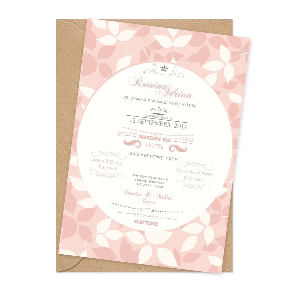 """Invitatie de nunta """"Soft pink"""""""