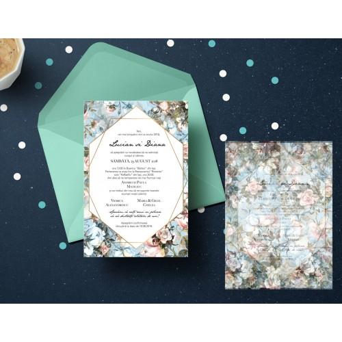 """Invitatie de nunta  """"Vintage Blue"""""""