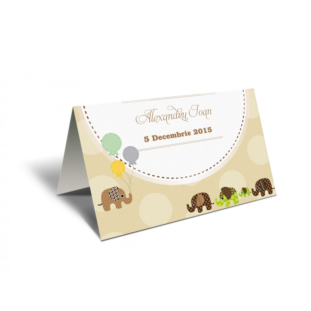 "Placecard ""Baby elephants"""