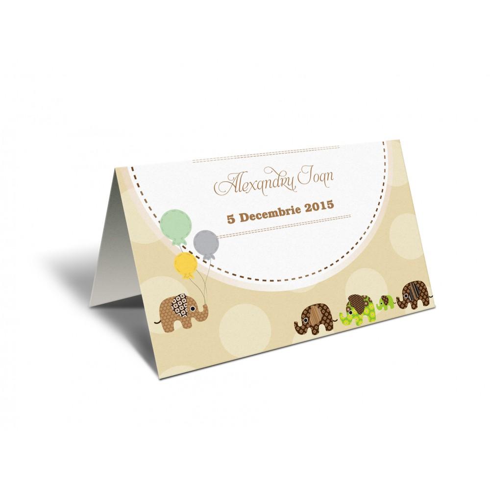 "Placecard  de botez ""Baby elephants"""