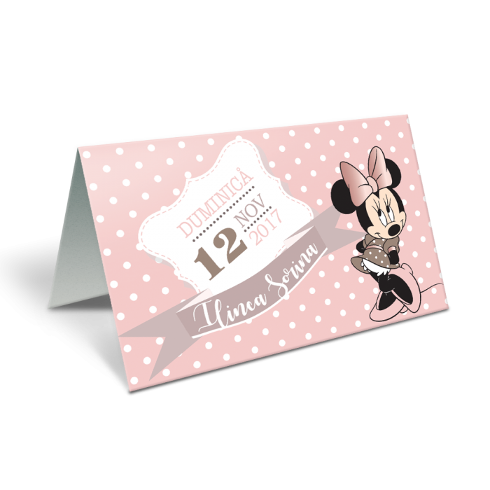 "Placecard de botez ""Minnie cea cocheta"""