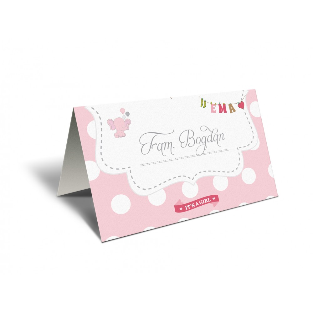 "Placecard ""Pink elephant"""