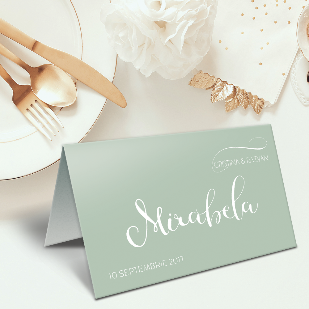 "Placecard "" Vintage green"""