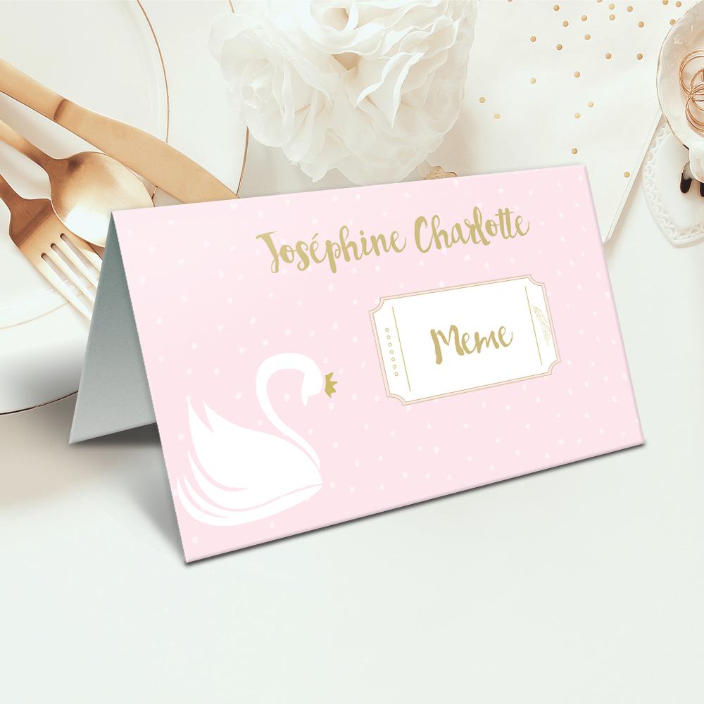 "Placecard de botez "" Lebada roz"""