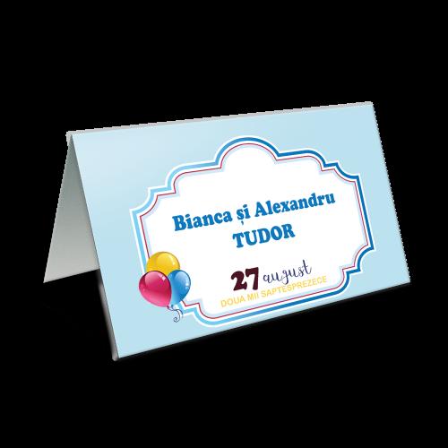 "Placecard de botez "" Baloane colorate"""