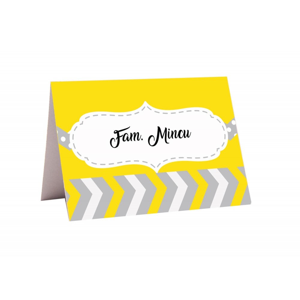 "Placecard "" Yellow stripes"""