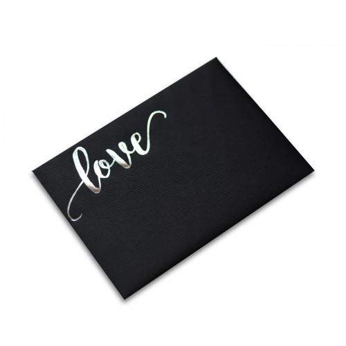 """Plic negru texturat 133x184  cu folio argintiu """"love"""""""